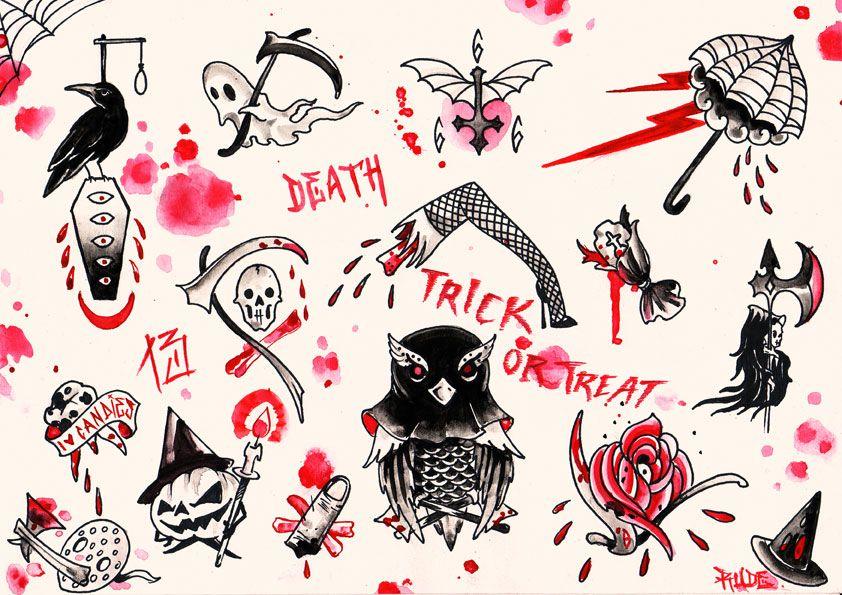 Simple Halloween Tattoo Flash