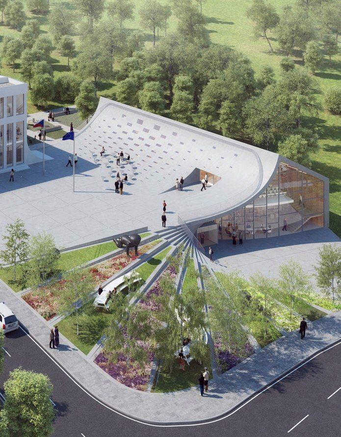 City hall community center czech design plukk architects for Design apartment udolni brno
