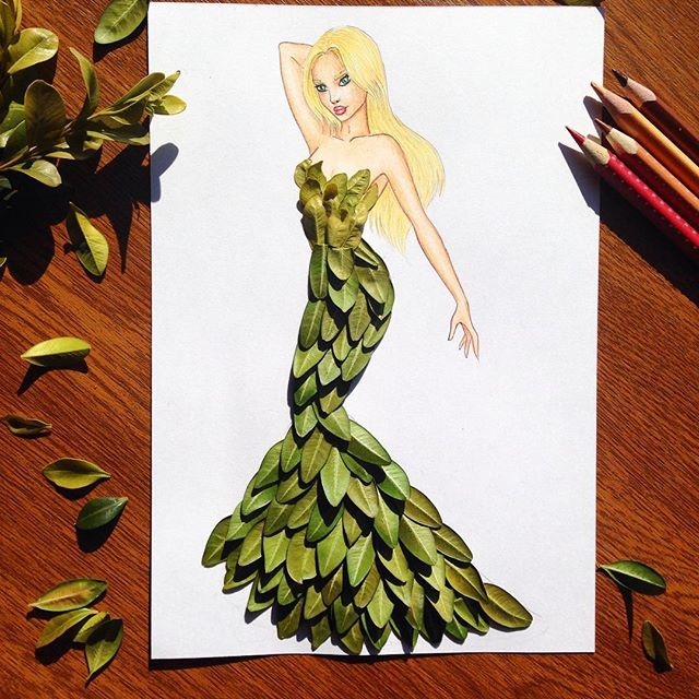 Edgar Artis On Instagram Dress Made With Leaves It Was Hard To Do But If You Like My Creations I M Ready To F Fashion Design Drawings Drawings Sketches