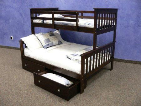Amazon.com: Twin over Full Mission Bunk Bed with Drawers in ...