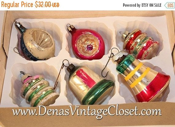 Vintage Mercury Glass Christmas Ornaments Hand Painted Indents Bells - christmas decorations sale
