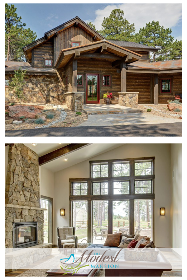 Beautiful Natural Stone And Wood In This Colorado Modern Mountain Cabin Mansions Mountain Cabin Colorado Homes