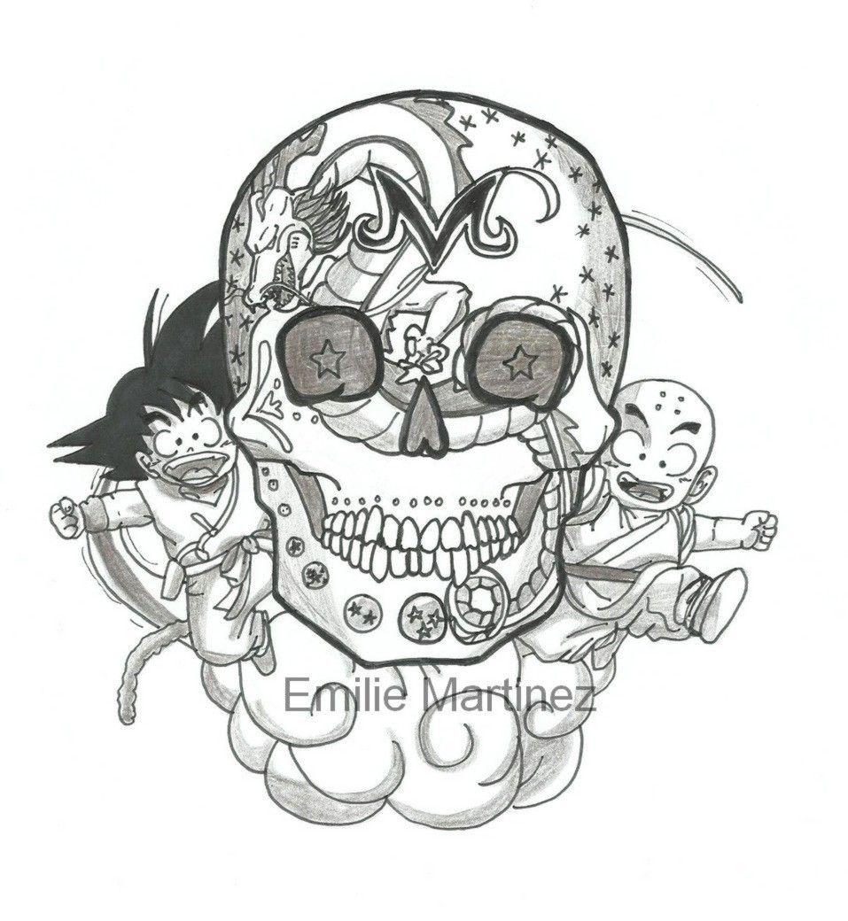 mexican skull draw dragon ball goku krilin shenron https www