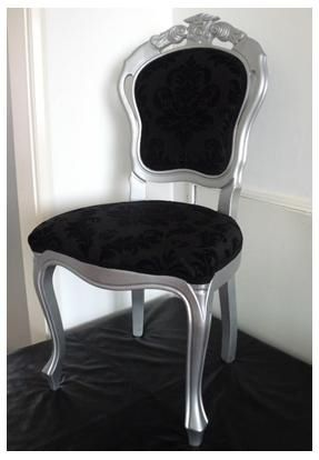 a shimmery silver french italian dining chair with black damaska shimmery silver french italian dining chair with black damask style fabric added with a black lace trim
