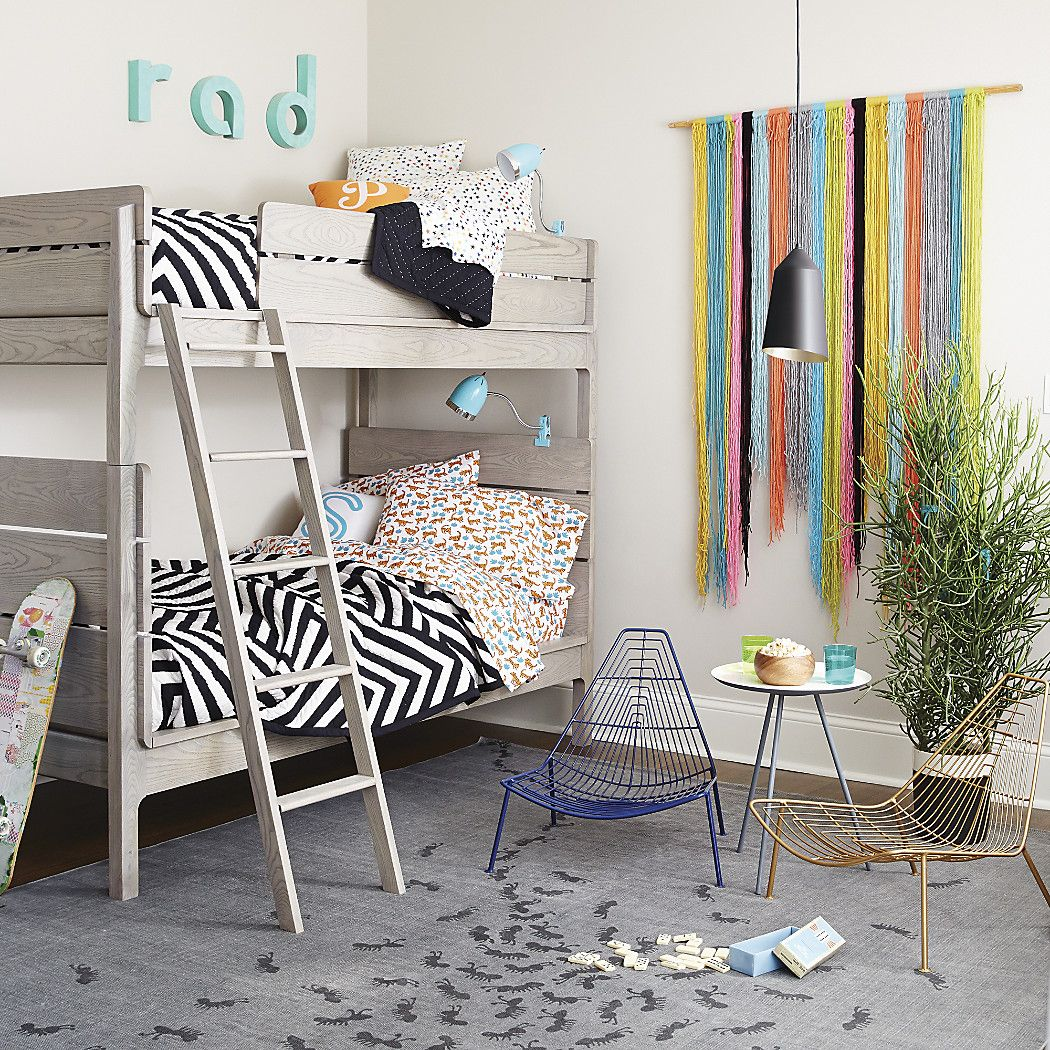 Loft bed with desk and chair  Wrightwood Grey Stain Twin Bunk Bed  Kids room  Pinterest  Bunk