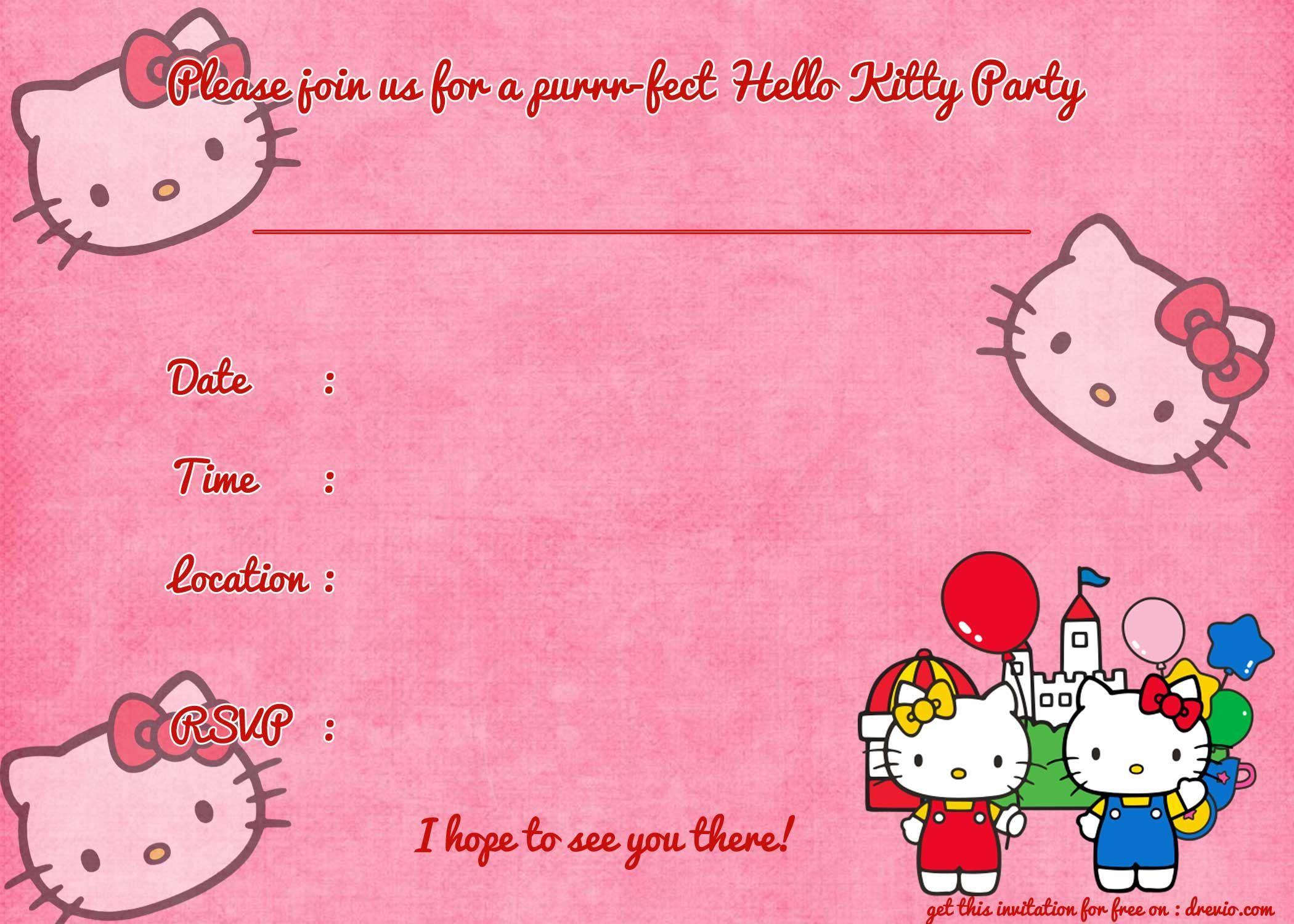 Printable Hello Kitty Birthday Invitation Template Party For Hello Kitty Hello Kitty Birthday Invitations Hello Kitty Invitations Hello Kitty Invitation Card