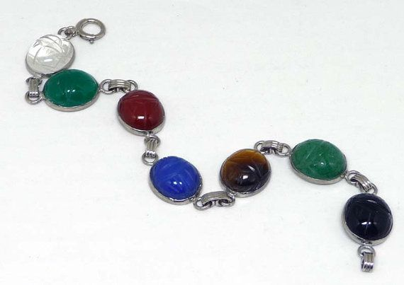 Scarab Bracelet Multi Colored Carved Gemstones Egyptian Revival Pink Blue Red Green Black Clear
