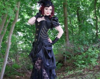 Vampire Costume | Steampunk Siren | Masquerade Dress, Gothic Victorian Dress, Festival Costume, Gothic Dress, Steampunk Cosplay, Leather