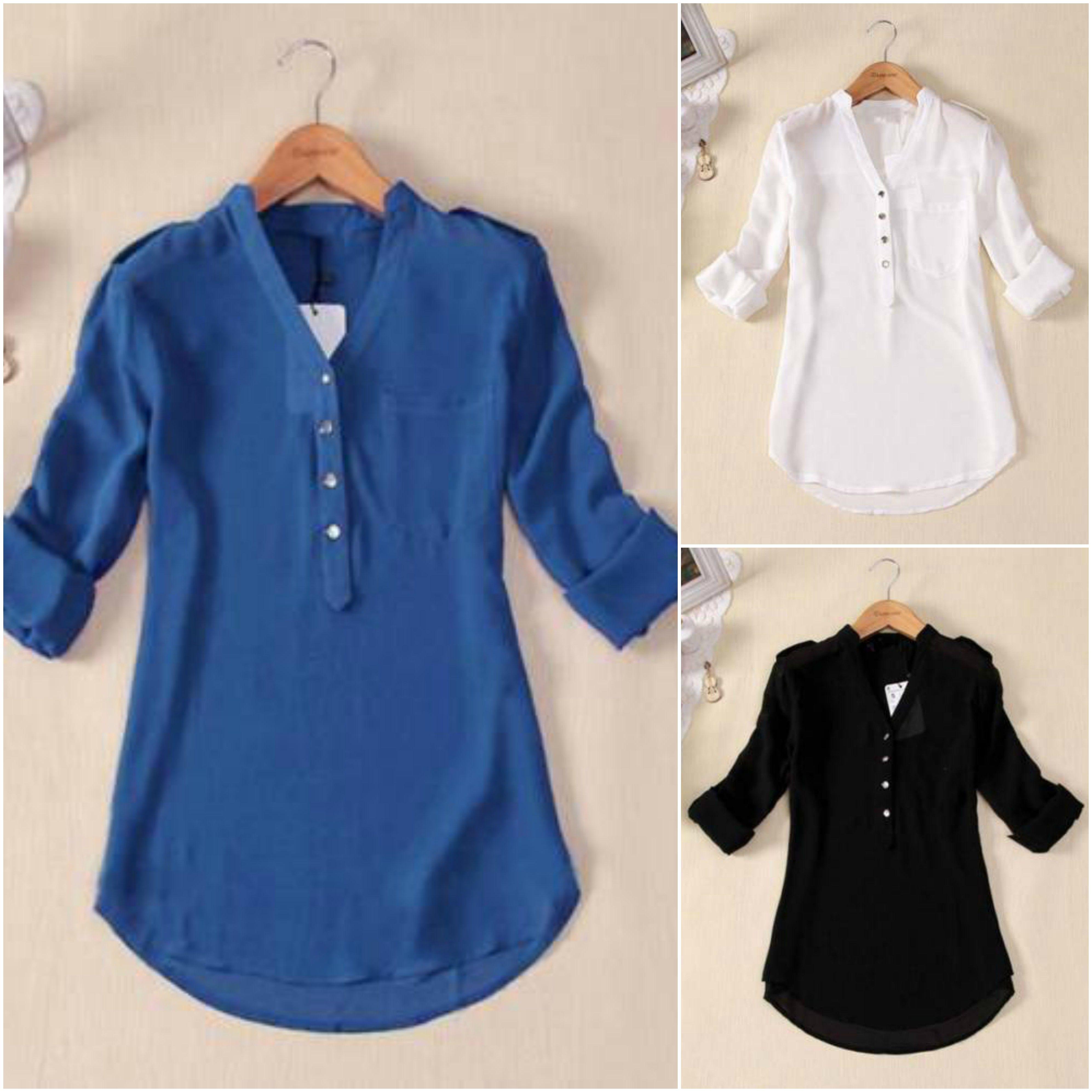 08d925ba70f Plus Size XS-4XL Sexy Women Chiffon Top Pullover Long Sleeve V Neck Button  T Shirt Blouse Hot Blouse     Size XS