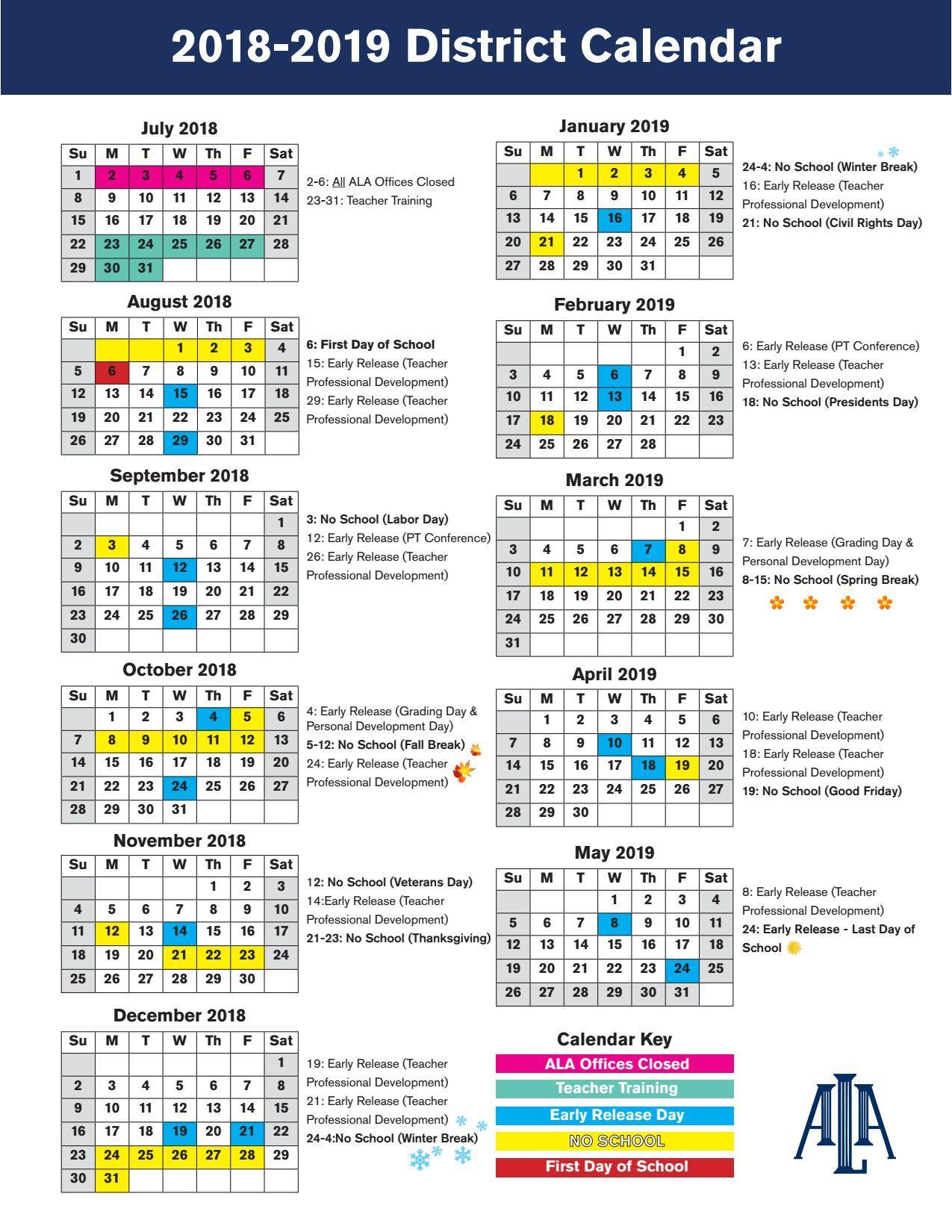 20182019_District_Calendar.pdf Charter school, Teacher