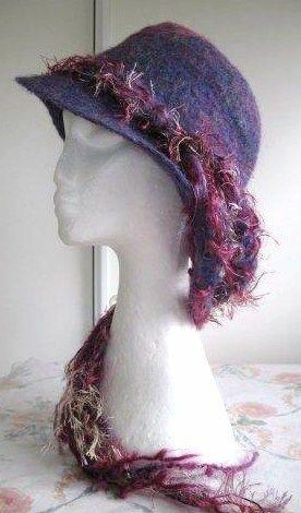 KIRTON KREATIONS: Damson - Felted Merino Cross Hat with Crazy Felt Band