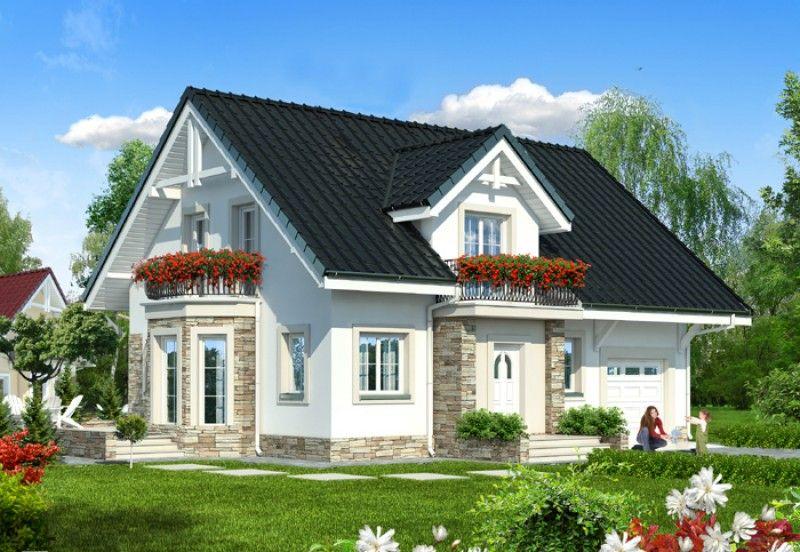 Proiect casa parter si etaj mansardat cu trei dormitoare for Case cu etaj