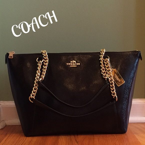 NWT COACH Ava Leather Chain Shoulder Bag Stunning textured shiny ...