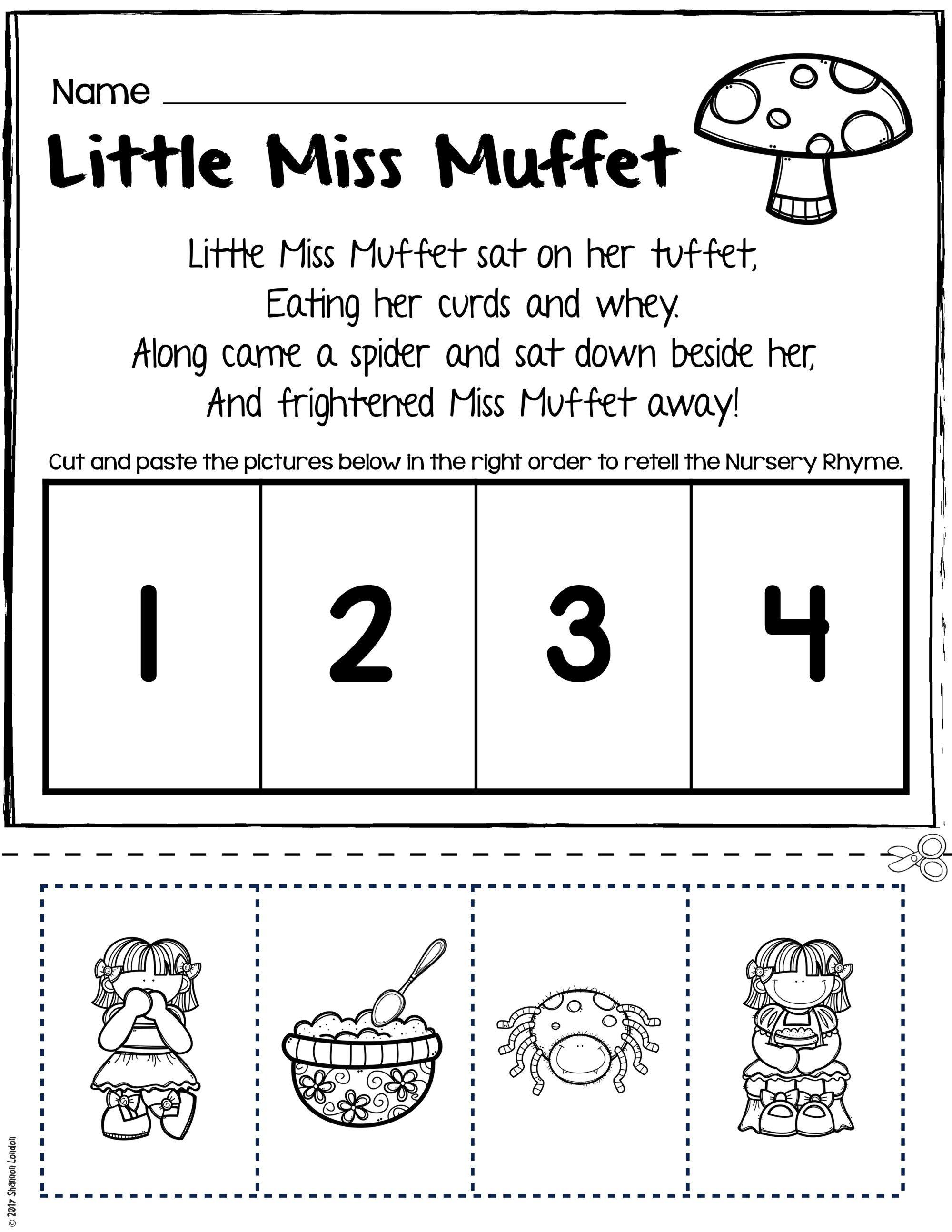 Nursery Rhymes Worksheets For Story Retelling Practice In