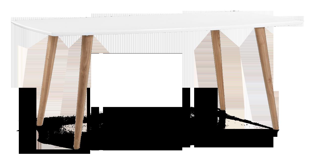 ELISE-ruokapöytä 180 x 100 cm (Korkeakiiltovalkoinen/Tammi)