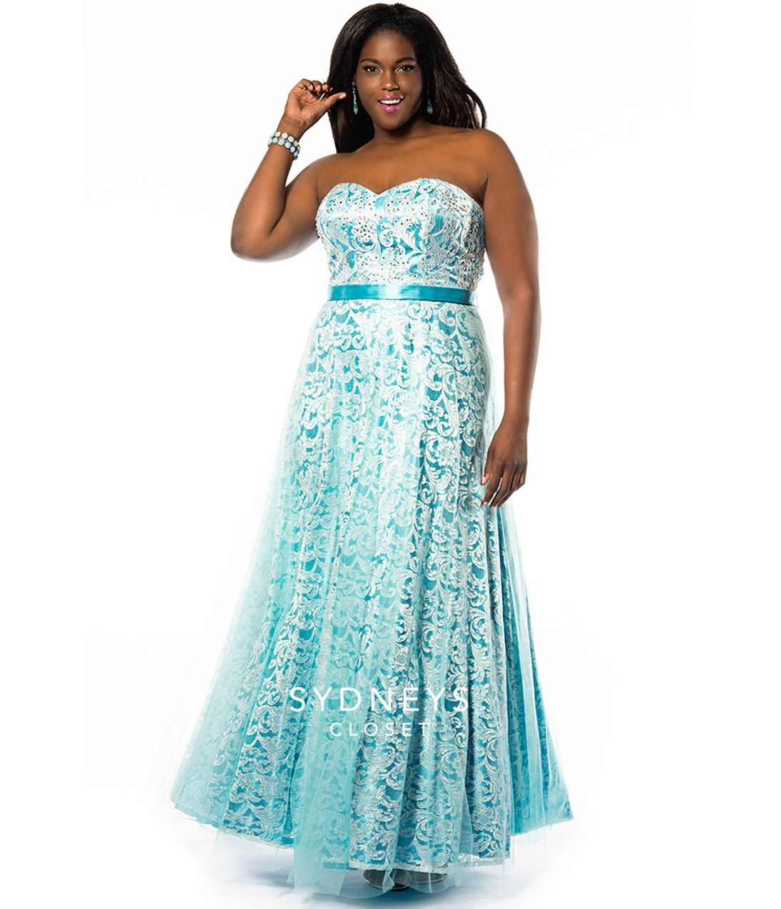 Crystal blue strapless sequin u lace gown plus size womenus