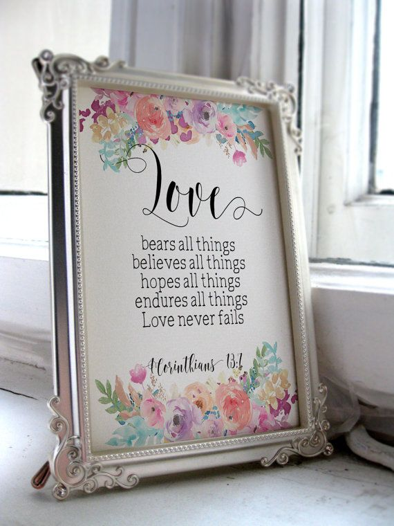 Printable Wedding Sign Bible Verse Art Quote Love Anniversary Gift Christian Wall