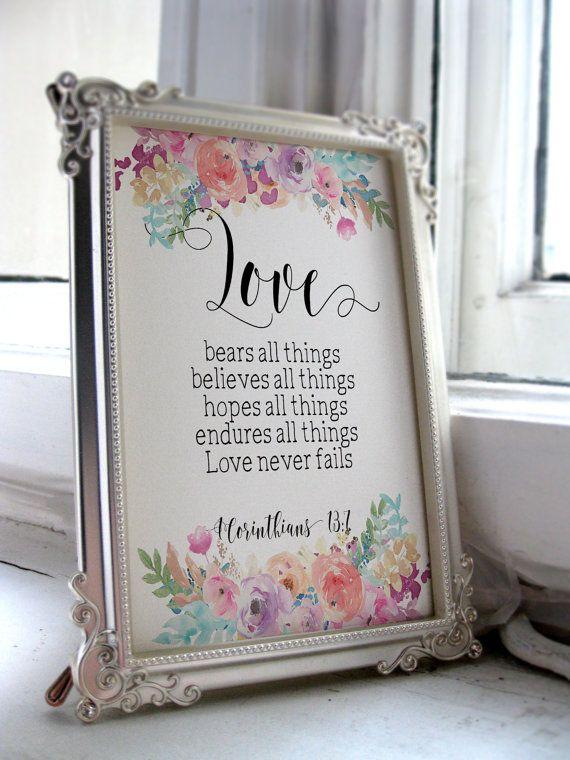 a2808ff1f3a4d Printable wedding sign Bible verse Printable art Wedding quote sign Love  quote Anniversary gift Christian wall art Wedding gift print BD1005