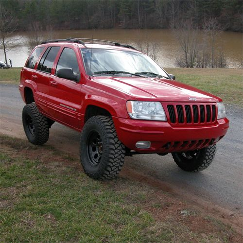 lifted red jeep wj