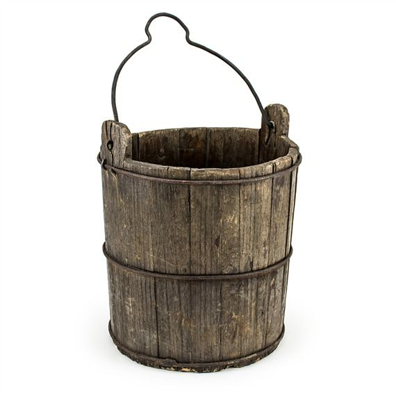 Vintage Wooden Well Drawing Bucket (491563266), Home Accents ...