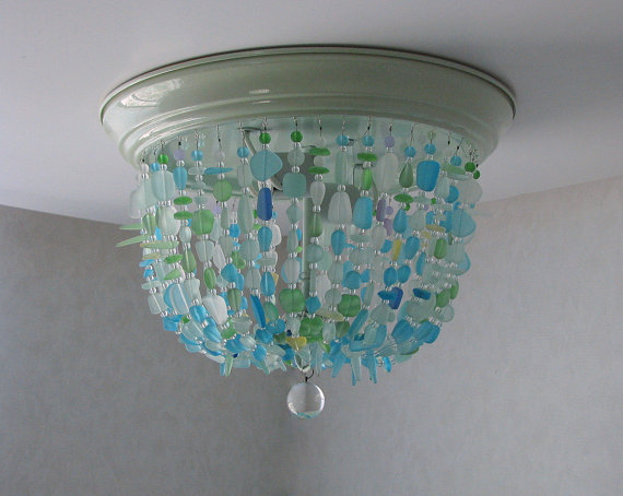 Sea Glass Chandelier FLUSH MOUNT Coastal Decor Beach Glass Ceiling Fixture