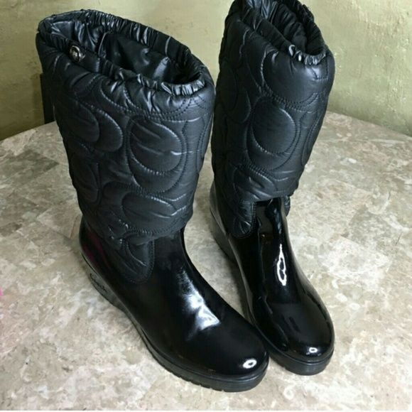 Coach Cantina Rain/Snow Boot Quilted Upper/Patent Leather Wedge Boot Coach Shoes Winter & Rain Boots