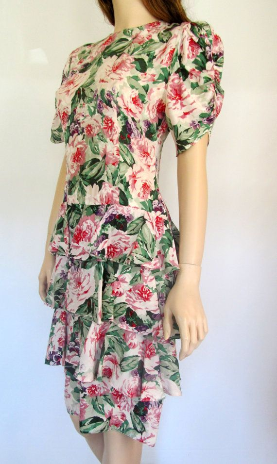 80's Dress / 80's Party Dress / Pretty In Pink Ruffled Dress