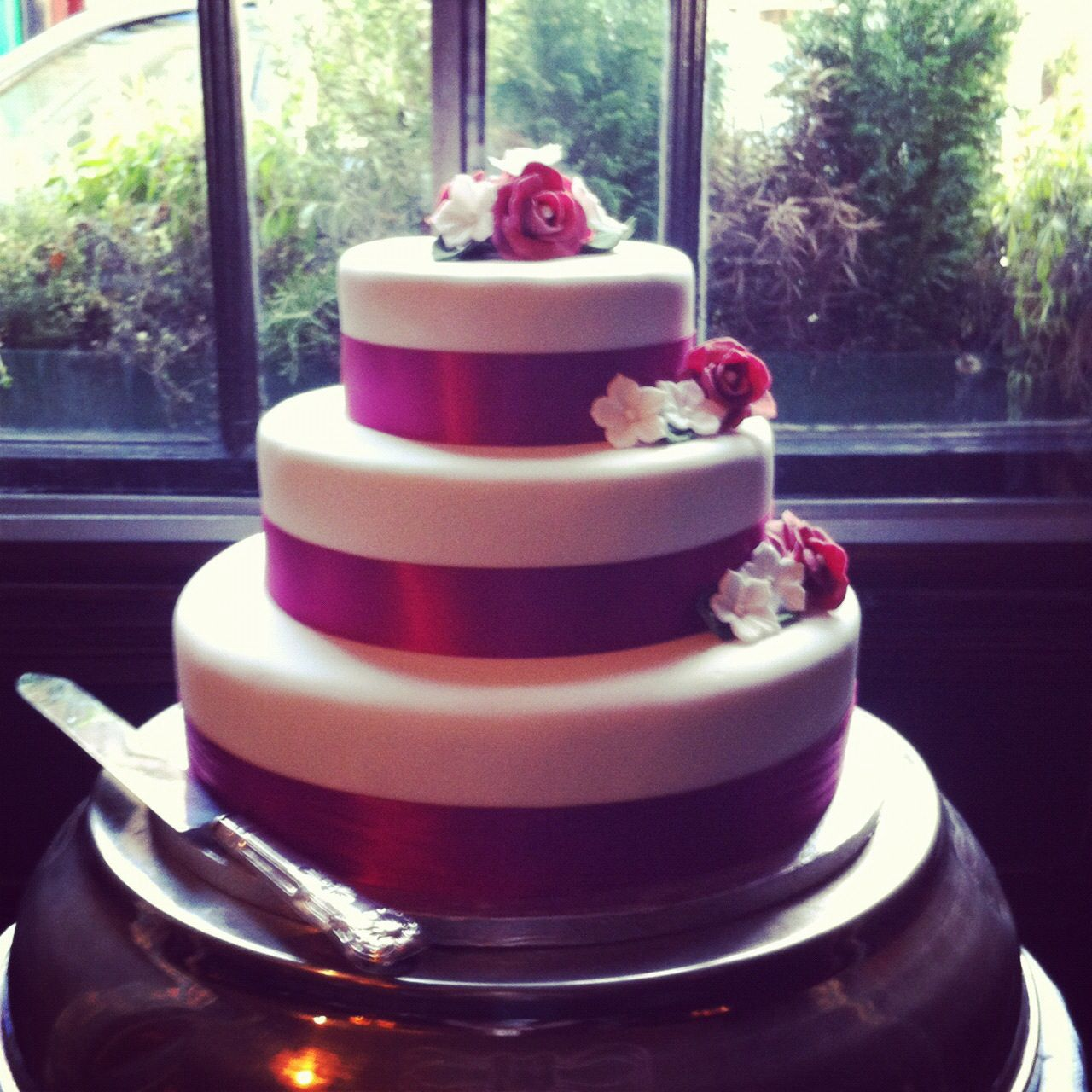 3 tier wedding cake. Simple but beautiful