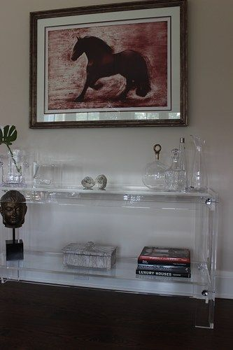 Handcrafted Lucite/Acrylic Console Table With Button Accents And Shelf