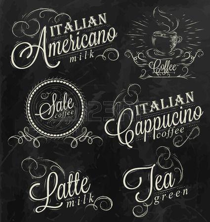 Namen von Kaffee-Getränke Espresso, Latte, stilisierte Inschriften ...