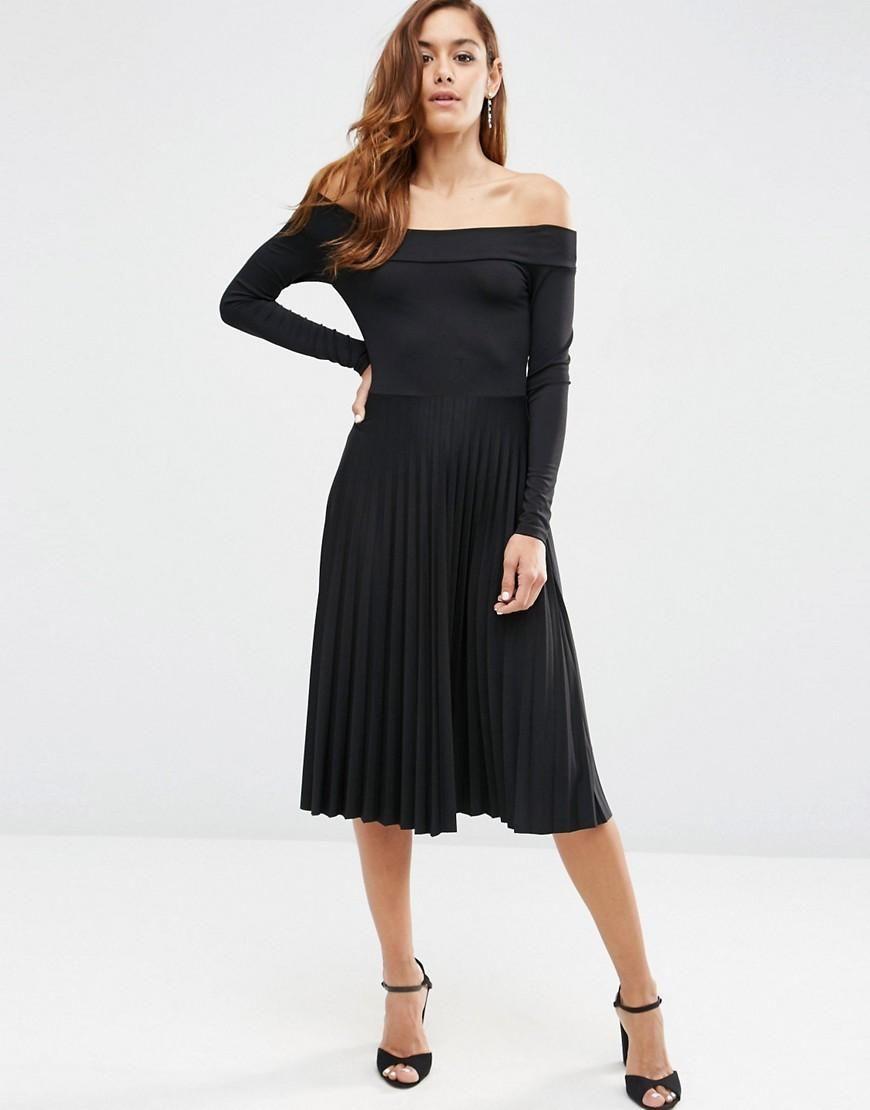 Long Sleeve Bardot Midi Pleated Dress