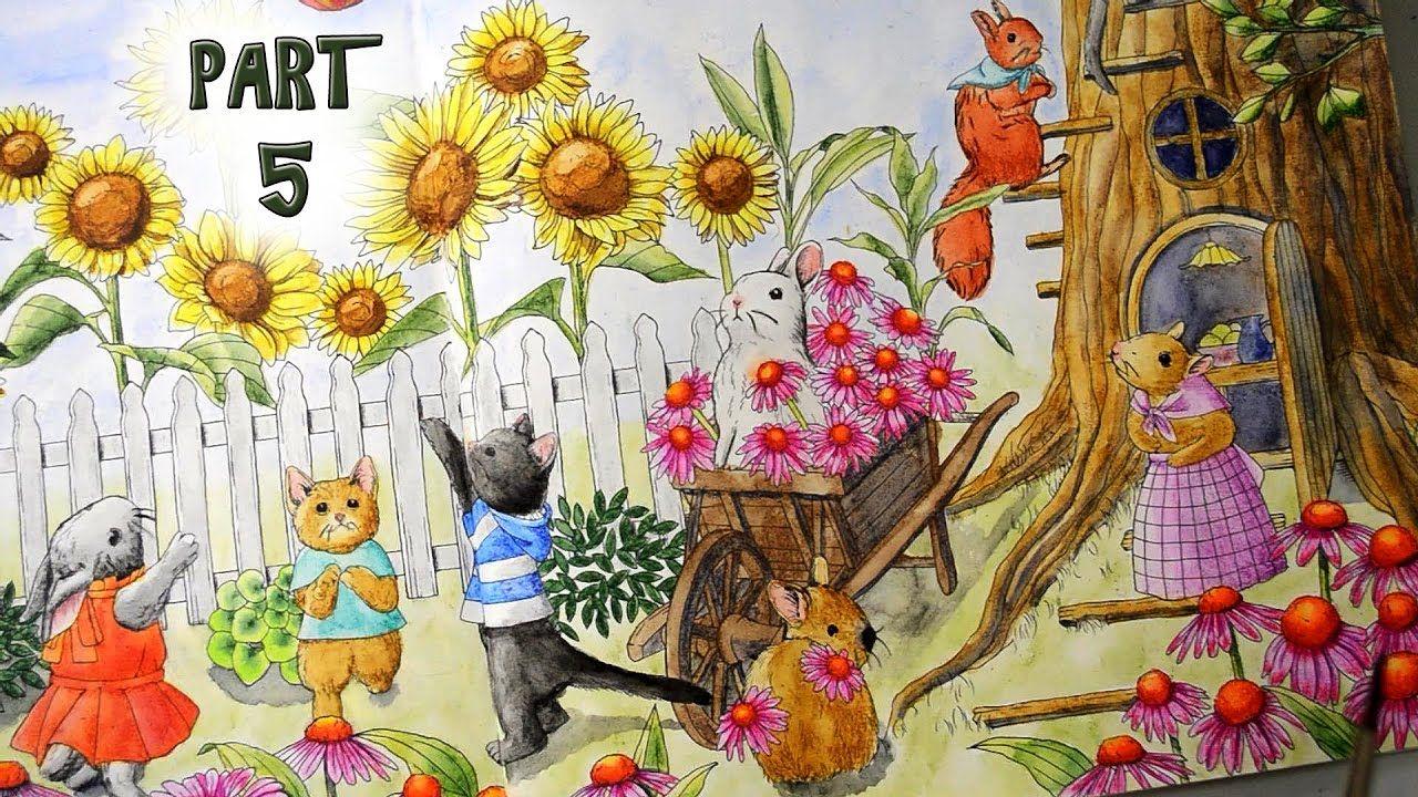 Coloring Menuet De Bonheur With Watercolor Pencils Part 5 Garden Animal Flower Coloring Pages Coloring Books Coloring Japan