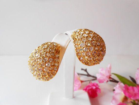Rhinestone Earrings in Goldtone Setting by LittleBitsofGlamour