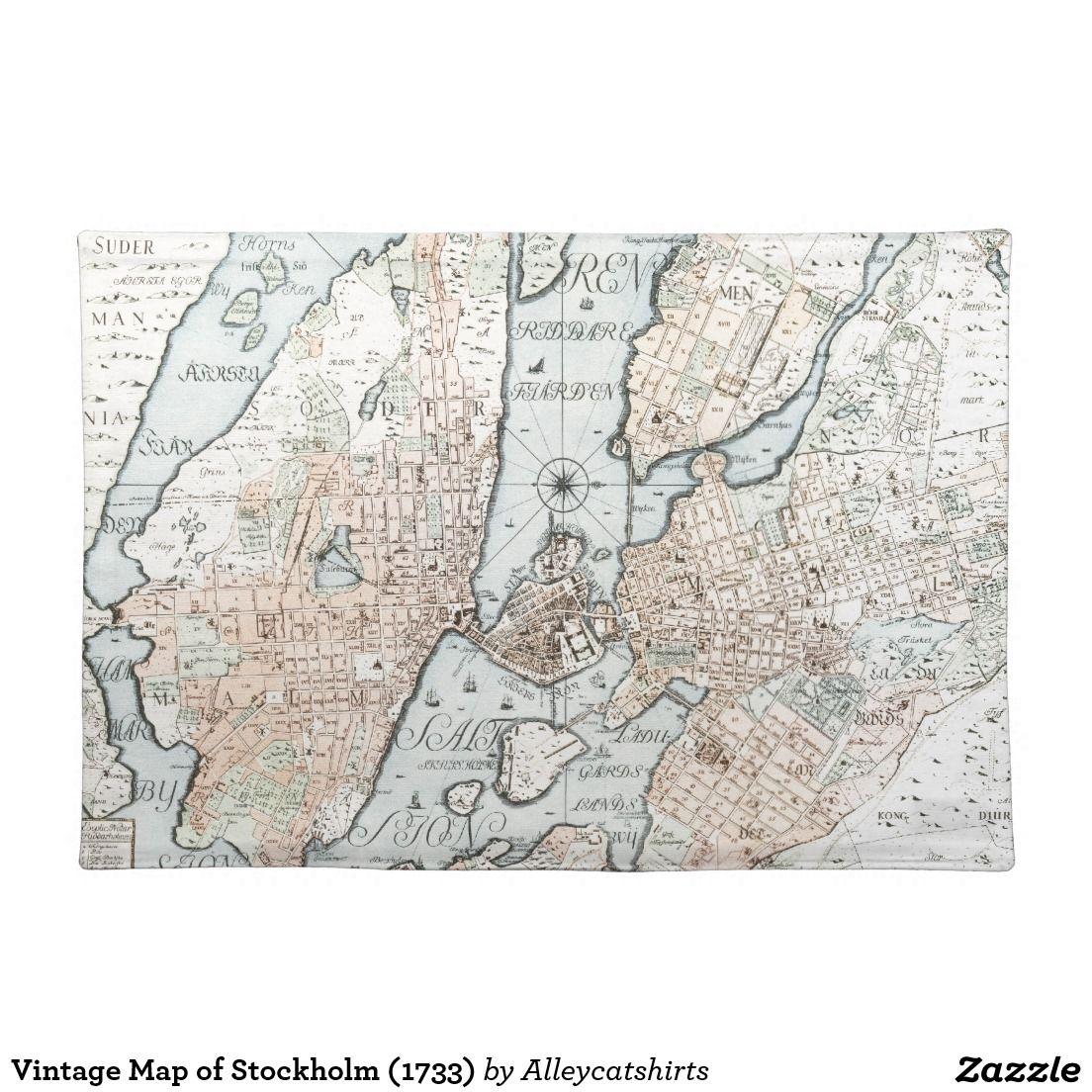 Vintage Map Of Stockholm 1733 Placemat Vintage Map Placemats Custom Placemats