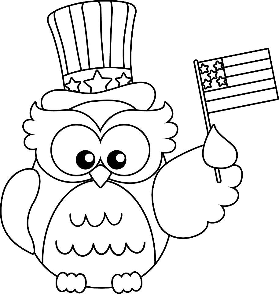 Flag Day Coloring Pages Veterans day coloring page, Owl