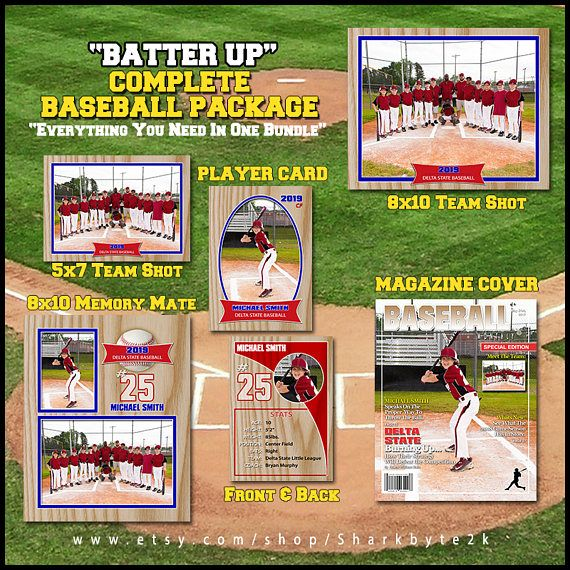 2020 Complete Baseball Template Package Includes Player Etsy Baseball Card Template Baseball Player Card