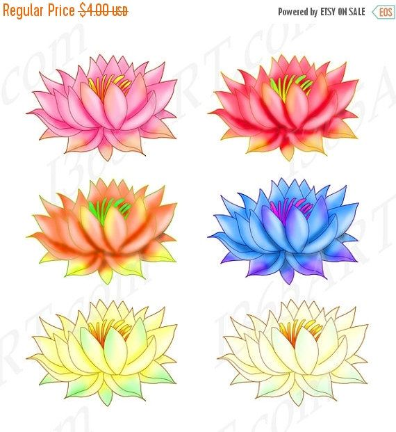 50 off sale lotus clipart lotus clip art lotus graphics rainbow colorful lotus flowers rainbow colors clipart set by mightylinksfo Images
