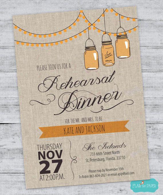 rustic rehearsal dinner invitations