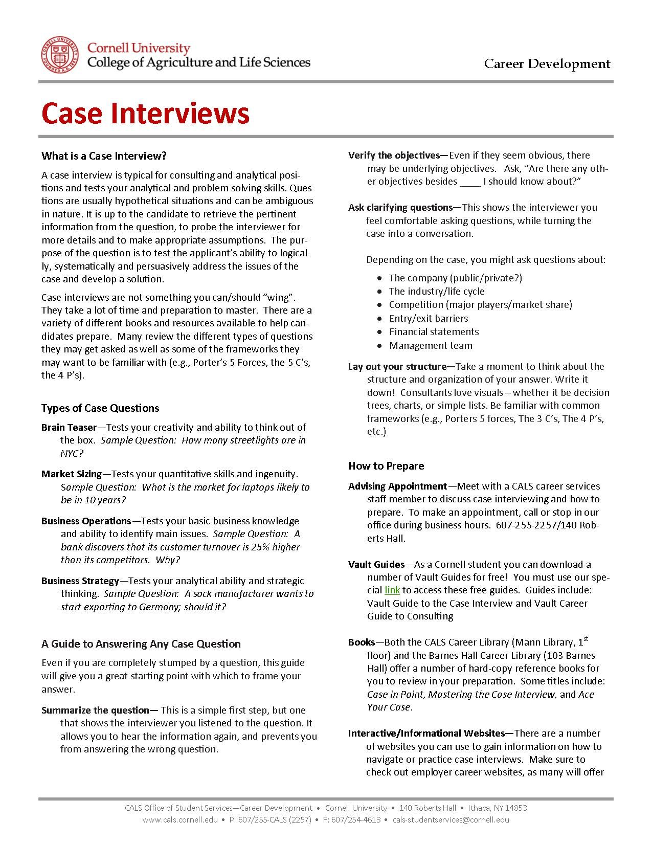 Here Are Some Great Resources To Help You Prepare For Case Interviews View This Document Online At Http Career Development Agriculture Careers Life Science