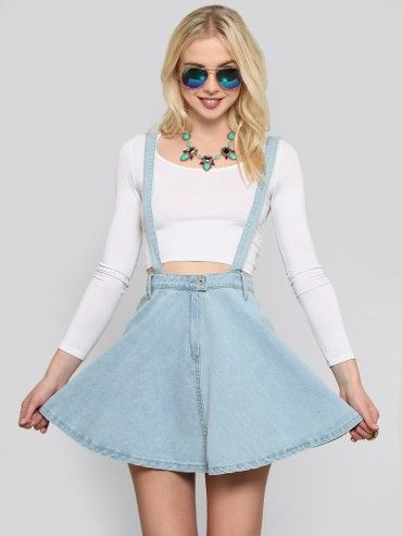 4d0959b1a3 Denim Suspender Skater Skirt - What's New at Gypsy Warrior $44 ...