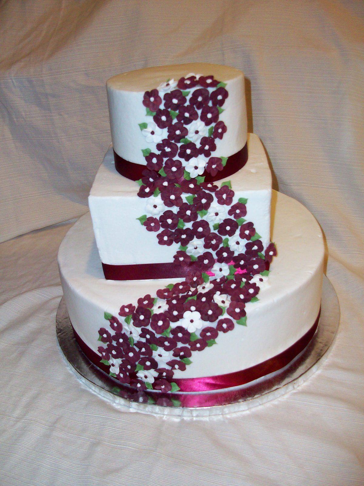 Simple Square 3 Tier Wedding Cake