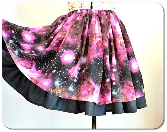 Galaxy Skirt  Pink Space Skirt  Nebula Skirt  by SantasticDesigns