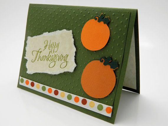 Pumpkins and Polka Dots Thanksgiving Greeting Card by DesignsByCnC, $5.00
