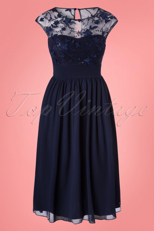 50s Lorna Flower Dress in Navy   Aufgestickte Blumen, Swing Rock und ...