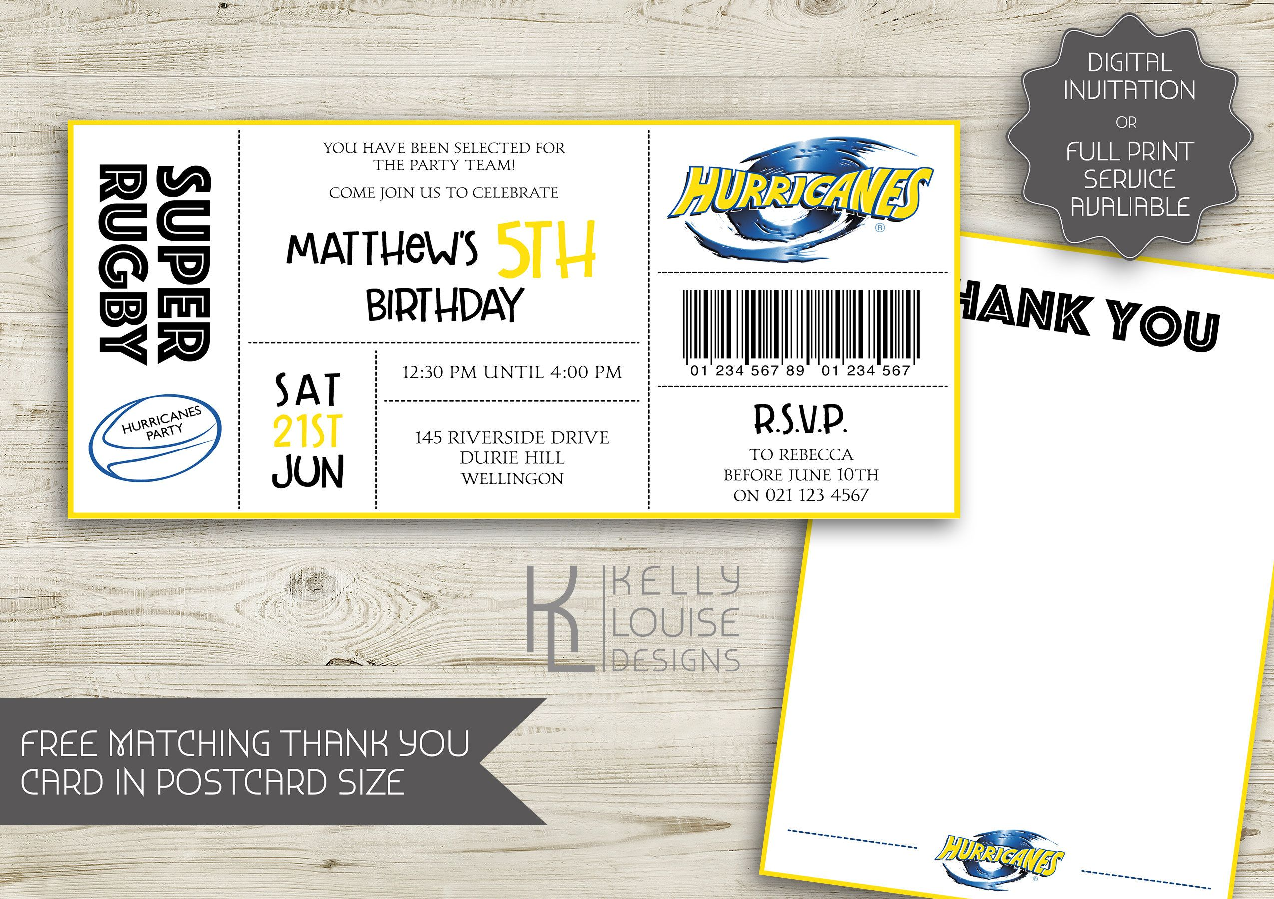 Hurricanes Birthday Invitation Rugby Birthday Party New - Birthday invitation nz