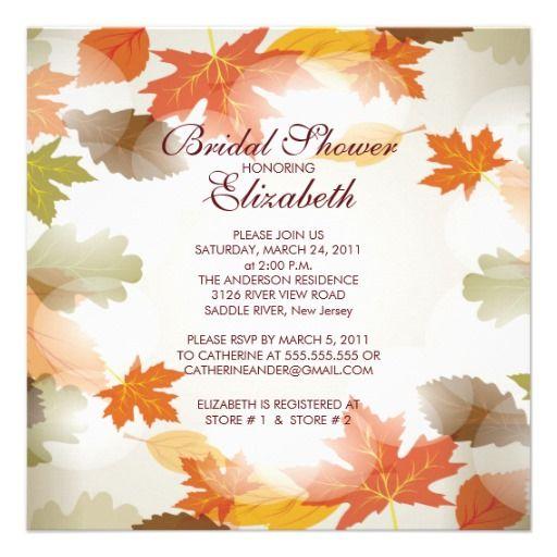Modern Autumn Fall Leaves Bridal Shower Invitation | Zazzle.com #autumnleavesfalling
