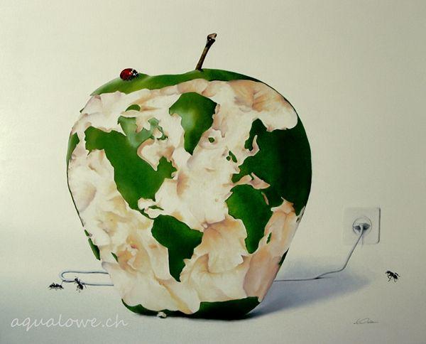 Un concept surréaliste et symbolique pour un clin d'oeil à notre planète et l'urgence écologique de trouver de nouvelles sources d'énergie. Les fourmis font allusion au travail que cela représente, la coccinelle un symbole d'espoir... dans une société de …