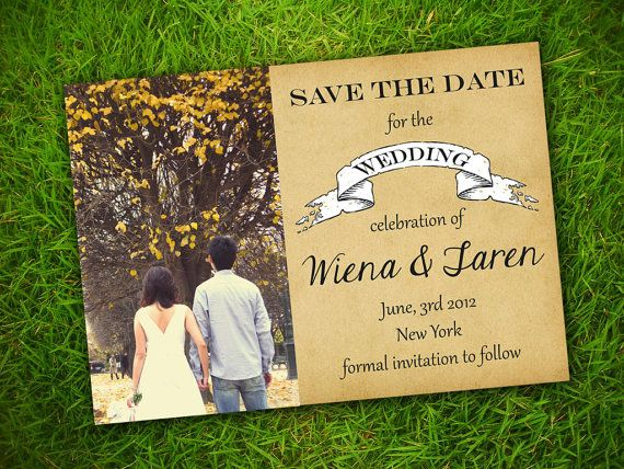 Vintage Rustic Classic Customizable Photo Save The Date Invitation Card - Printable