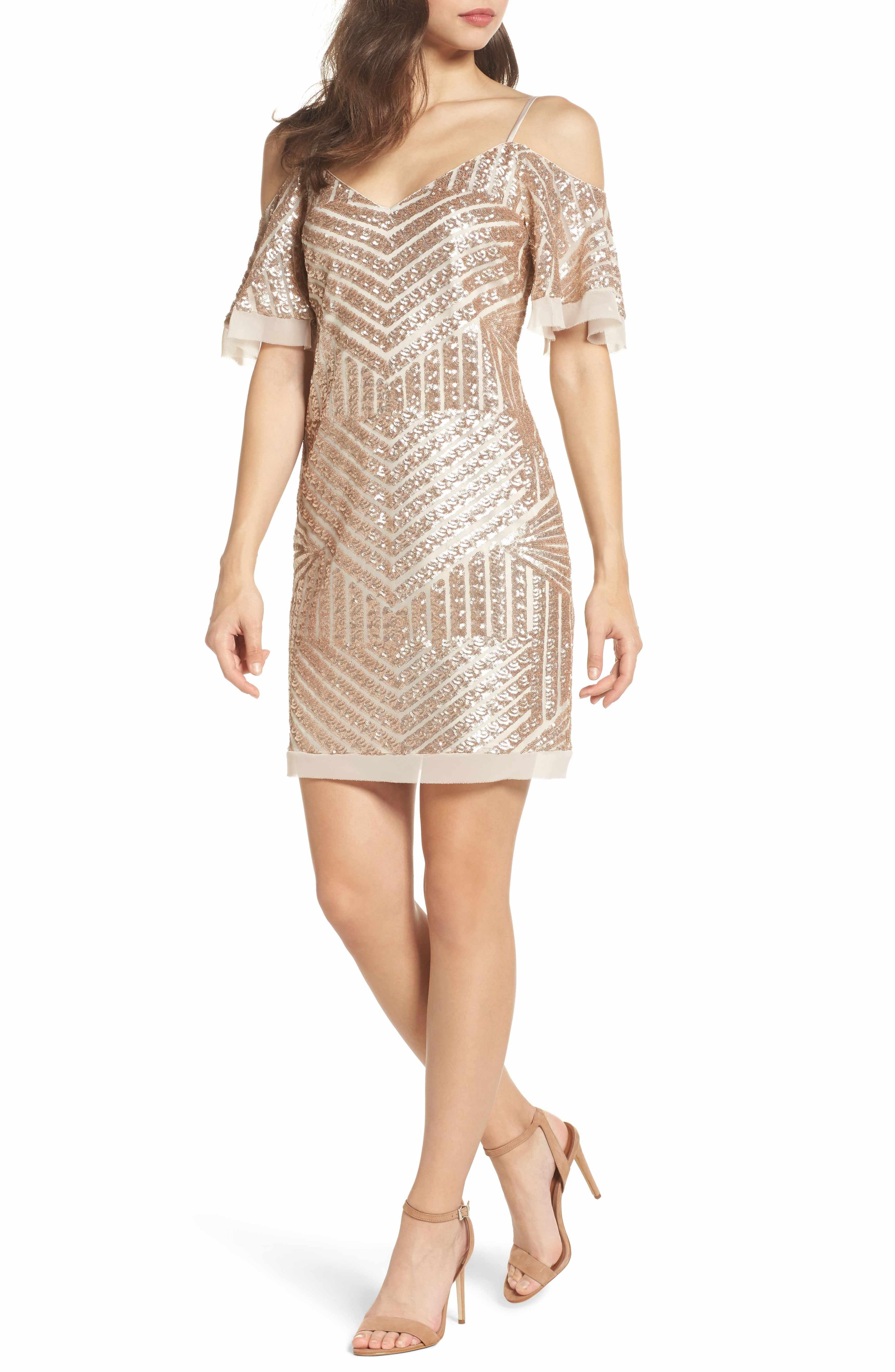 Vince Camuto Sequin Cold Shoulder Dress Regular Petite Nordstrom Dresses Womens Cocktail Dresses Cold Shoulder Dress [ 5272 x 3440 Pixel ]
