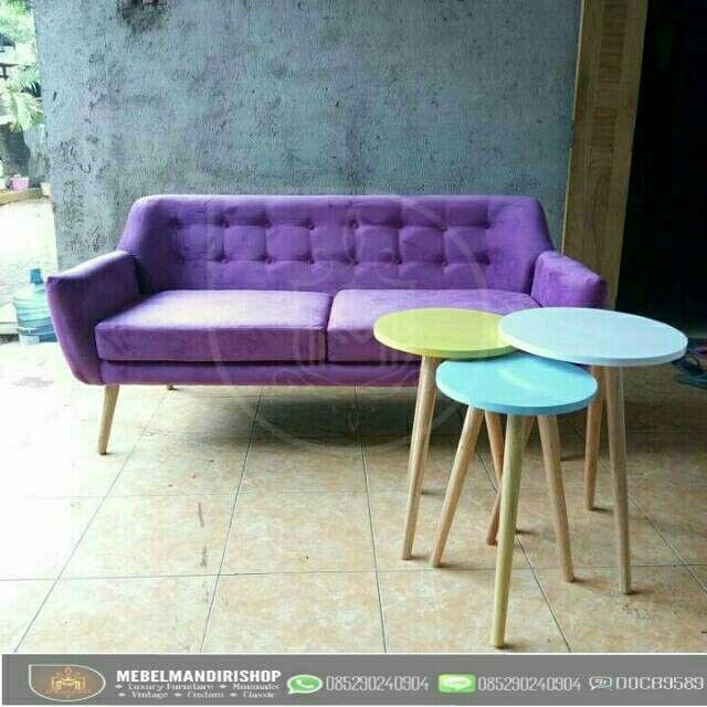 Saya Menjual Set Ruang Tamu Kursi Sofa Retro 2 Dudukan Ungu Dan Meja Bundar Seharga Rp5